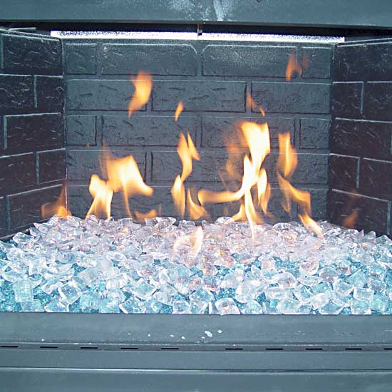Fire ice crystals burning in a fireplace