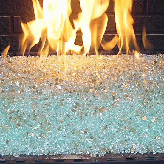 picture 1 of fireplace with fire crystals