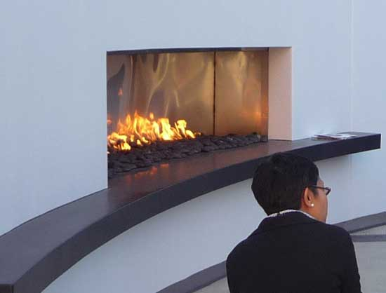 Modern fireplace decor with fire stones