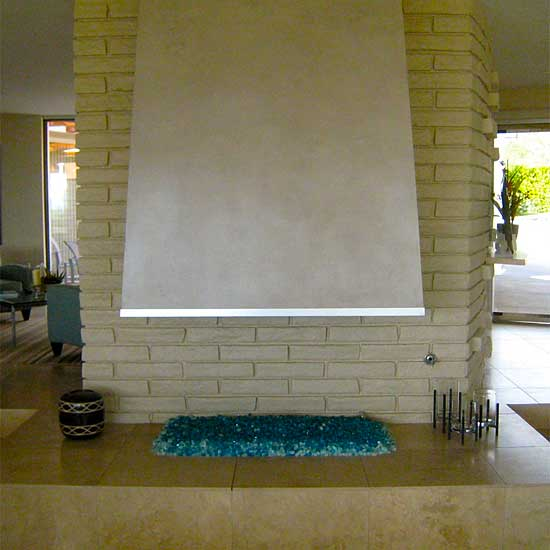 Floor fireplace with blue fireglass