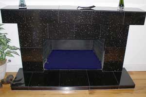 Fireplace with Clear Aquatic Glassel