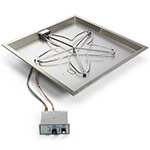 24 Inch Square Drop-In Fire Pit Kit with Push Button/Flame Sensing